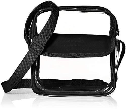 Football Stadium Approved Clear Messenger Bag Clear Shoulder Bag Transparent Purse with Adjustable Strap (Black)