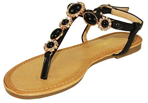 Steven Ella Women's Adjustable Ankle Strap Thong Sandals (10, Black)