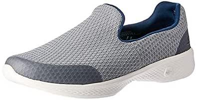 Skechers Women's GO Walk 4 - Array Walking Shoe, Grey/Navy, 6 US