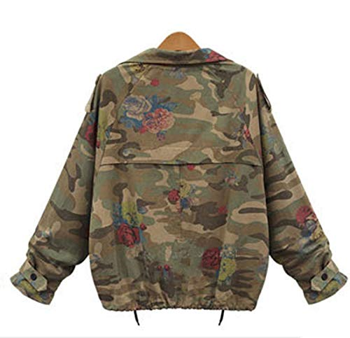 Tops Giacca Primavera Giacche Autunno Floreali Donna Camouflage Moda Manica Corto Green Cappotto Casual Jacket Jungen E Coat Lunga Cime Outerwear Army 8ggxa