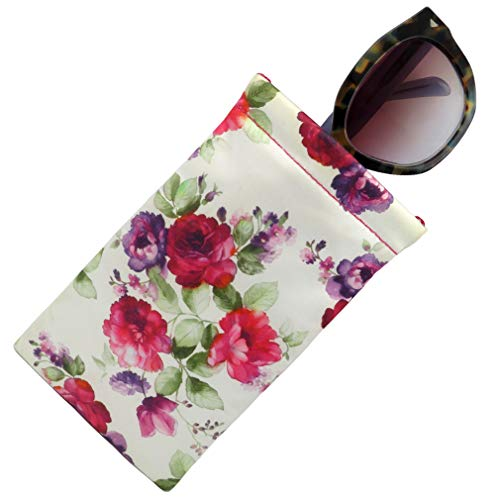 Case Large Eyeglass - Soft Sunglasses case, Squeeze Top pouch,Large soft eyeglass case (Cranberry Rose)