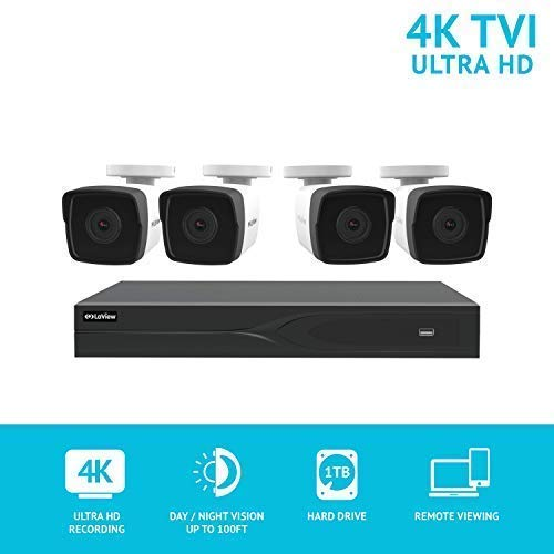 LaView 8 Channel Ultra HD 4K Home Security Camera System with 4 8MP Bullet Cameras, 100ft Night Vision, Weatherproof Expandable Surveillance Camera System DVR 1TB HDD