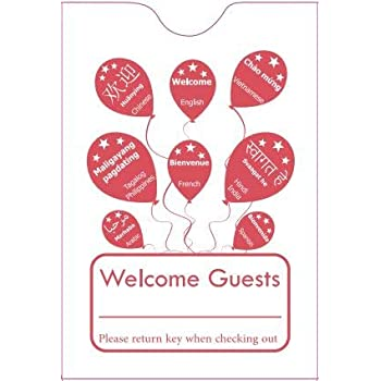 """Hotel Key Card Sleeve /"""" Welcome Guests/""""  2-3//8/"""" x 3-1//2/"""" 1000CT Item#KCB238B"""
