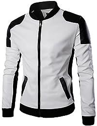 Men's latticed Baseball Bomber Jacket Slim Fit Coat White Black