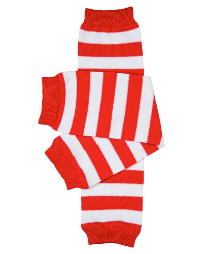 Red & white stripe baby leg warmers for boys and girls by juDanzy, One -