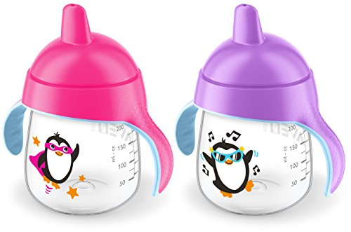 Philips Avent My Penguin Sippy Cup 9oz, Pink and Purple, 2pk, SCF753/27