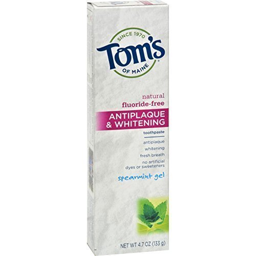 Tom's of Maine Antiplaque Plus Whitening Gel, Spearmint 4.7 oz (Pack of 12)