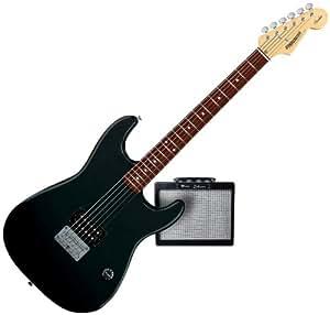 starcaster by fender mini strat electric guitar starter pack black musical instruments