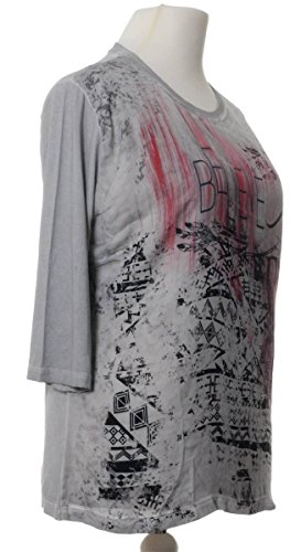 No Secret Damen T-Shirt Grau 3/4 Arm große Größen Stretch-Viskose