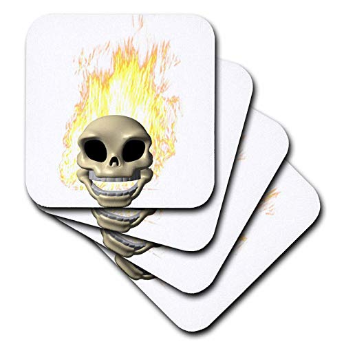 (3dRose Blonde Designs Happy and Haunted Halloween - Halloween Flaming Skull - set of 8 Coasters - Soft)