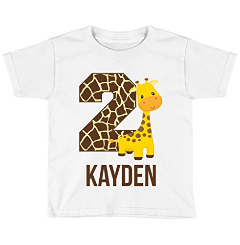 Blu Magnolia Co Boys Safari Giraffe Birthday Shirt Any Age | Personalized with Any Name (White, 2T)
