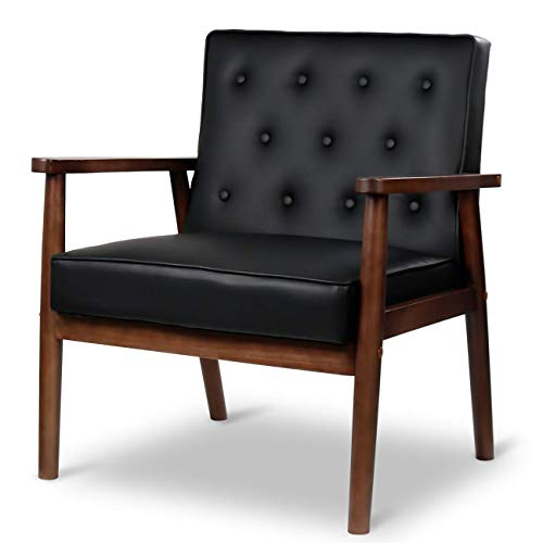 JOYBASE Mid-Century Retro Modern Accent Chair – Wood Frame and PU Leather Upholstered, Arm Chair for Living Room (Black)