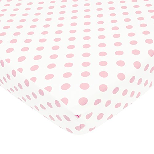 American Baby Company 100% Cotton Percale Fitted Crib Sheet for Standard Crib and Toddler Mattresses, White with Pink Dot - Dots Pink Crib