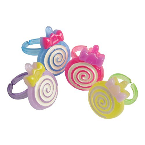 Adjustable Swirl (Lot Of 12 Assorted Color Swirl Lollipop Adjustable Child Size Rings)