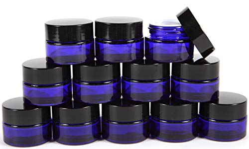 Vivaplex, 12, Cobalt Blue, 1 oz, Round Glass Jars, with Inner Liners and black ()