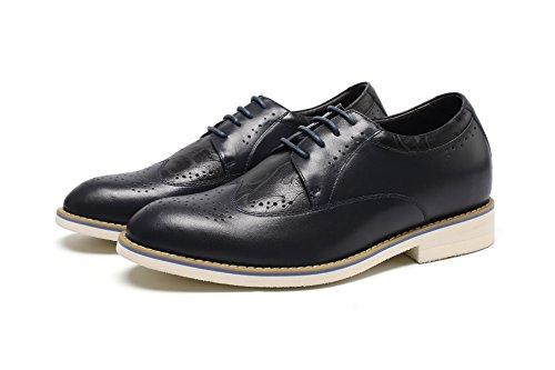 "CHAMARIPA Herren Höhenruder Schuhe Wingtip Brogues Lace ups Höhe heben Leder Smart Kleid Schuhe Blue-Taller 2,36 ""/ 6cm-H62C20K122"