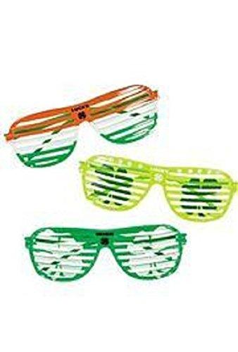 St Patrick's, Irish Plastic Shutter Shading Sunglasses, 1 Dozen, 6