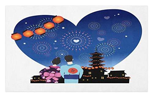 Lunarable City Love Doormat, Romantic Japanese Couple with