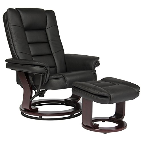 Contemporary Leather Swivel Recliner Ottoman W/ Wood - Leather S200