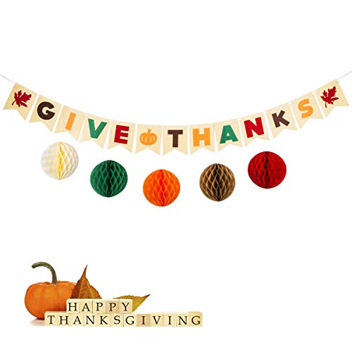 Give Thanks Banner with Colorful Paper Honeycomb Ball for Thanksgiving Day-Maple Leaves-Thanksgiving Day Party Bunting Banner Garland-Thanksgiving Decoration -Fall Party Decorations-Happy Thanksgiving