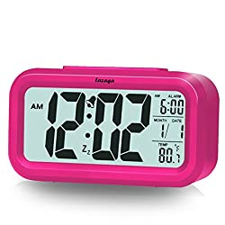 Alarm Clock, Lazaga Large LCD Display Digital Alarm Easy to Set and Watch,Low Light Sensor Technology Soft Night Light Repeating Snooze Month Date & Temperature Display (Pink)