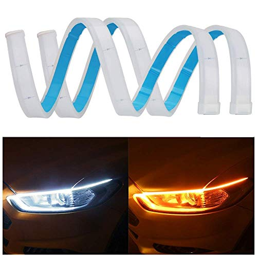 SONSOU Set of 2 Sequential Flow Universal Ultra-fine 60cm DRL | Daytime Running Light | Flexible | Soft | Tube Guide Car…