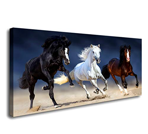 Canvas Wall Art Large Size Running Horse Canvas Wall Art,Wild Animal Picture Print on Canvas,Framed Gallery Wrapped,Modern Home and Office -