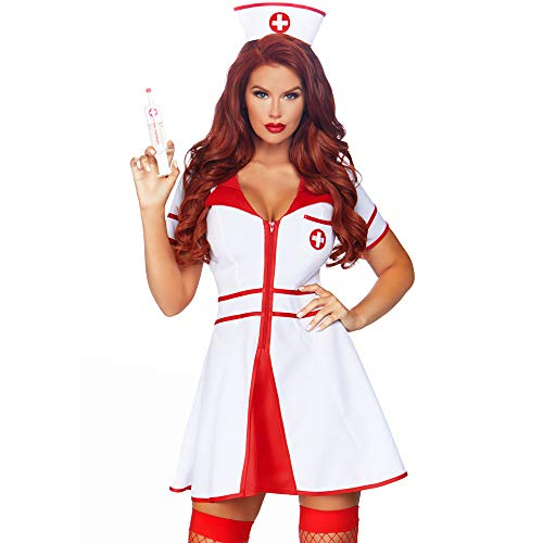 Leg Avenue Women's 2 Pc Hospital Honey Costume, White/Red, Small ()