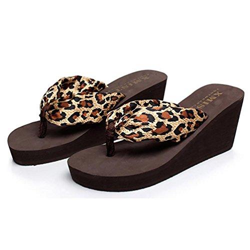 SHANGXIAN antideslizante playa panecillo inferior de las mujeres flip-flops sandalia de la cuña e