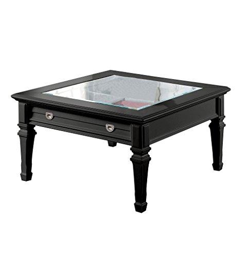 Black Glass Coffee Table Amazon: Amazon.com: ACME Adalyn Black Coffee Table With Display