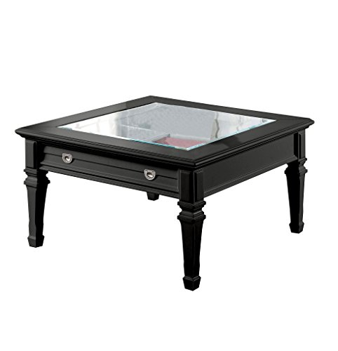 Acme Furniture ACME Adalyn Black Coffee Table with Display Glass Top For Sale