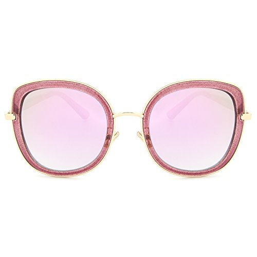 HDCRAFTER Sparkle Glitter Mirrored Lens Clear Frame Sunglasses for Women (Glitter Clear Frames)
