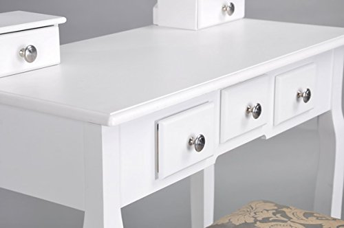 White 3-Piece Wood Make-Up Mirror Vanity Dresser Table and Stool Set with Chrome Knobs by eHomeProducts