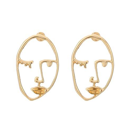 Yesido. Retro Weird Face Design Fun Face Earrings Abstract Contour Design - Abstract Earrings