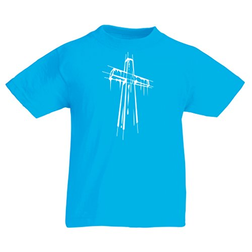 Ringer Fish Kids T-shirt (Kids Boys/Girls T-Shirt Distressed Holy Cross - Religious Gift Ideas. Christian Religion Apparel, Jesus Resurrection (12-13 Years Light Blue Multi Color))