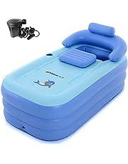 EoSaga Inflatable Bath Tub PVC Portable SPA Environmental Bathtub Bathroom SPA For an Adult With Air Pump Light Blue