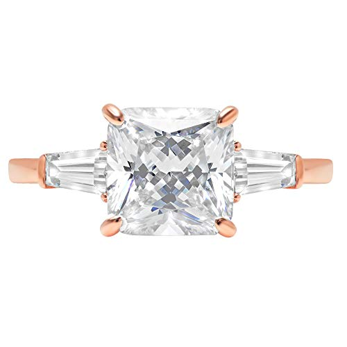 3.47ct Asscher Baguette cut 3 stone Solitaire Highest Quality White lab created Sapphire Ideal VVS1 D & Diamond Simulant Designer Modern Statement Ring Solid 14k Rose Gold, Size 5.5 Clara Pucci