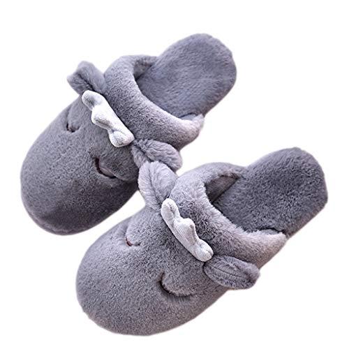 Schuhe Gray Innenwarme Weiblicher Farbe Plüsch 43 Karikatur Baumwollpantoffeln AMINSHAP größe Gray Unterseite 44EU Hauptdicker Nette Winter zZCqxf