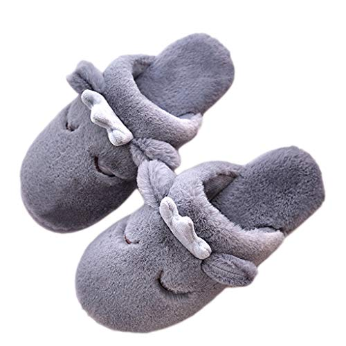 AMINSHAP Baumwollpantoffeln größe Weiblicher 44EU Plüsch 43 Hauptdicker Schuhe Winter Karikatur Innenwarme Nette Farbe Gray Unterseite Gray pprTqdFx