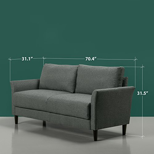 Zinus Classic Upholstered 71in Sofa/Living Room Couch, Grey with Hint of Green