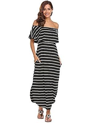 Women's Summer Off Shoulder Ruffles Pocket Split Long Maxi Casual Dress