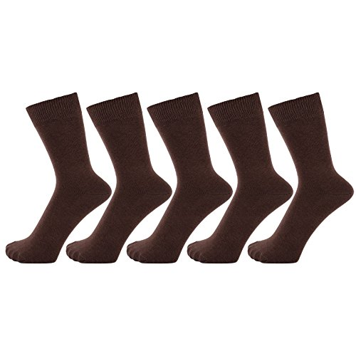 - ZAKIRA Finest Combed Cotton Dress Socks in Plain Vivid Colours for Men, Women - Pack of 5 (Brown, US 7-12)