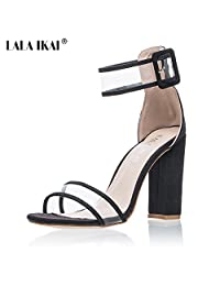 Women's Sexy Ankle Strap Sandal Transparent Open Toe Chunky High Heel Shoes