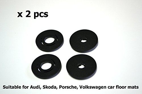 Carmats Fixation Clips ROUND type 2 pcs set fit Audi Volkswagen Porsche Seat Skoda models Floor Mat Fasteners Holders Fitting Clips for Rubber Carpeted - Usps To Shipping Canada Time