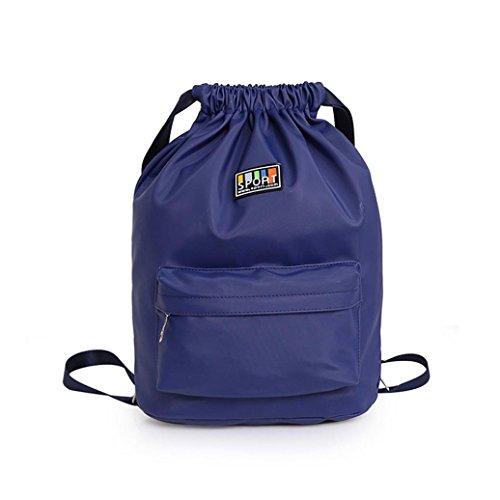 Clode® Mujeres moda Nylon impermeable sólido mochilas saquito de viaje comercial Azul