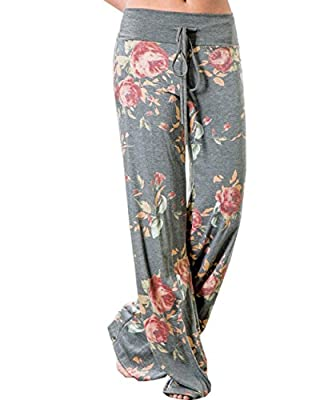 ZILIN Trousers, Women's Floral Prints Casual Yoga Drawstring Wide Leg Pants
