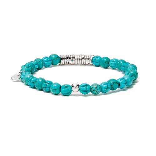 Tateossian Mens Disc Round Impression Jasper Beaded Bracelet with Sterling Silver Spacer Discs, Medium - 6.8 Inches