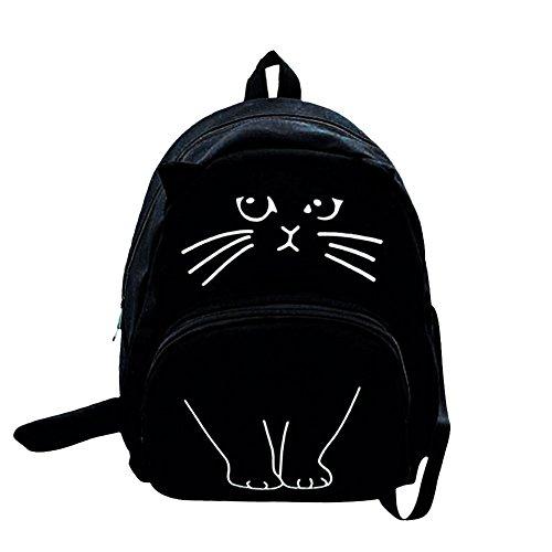 JD Million shop Lovely Canvas Backpack Cute Cartoon Cat Backpack Women Casual Students School Bags Casual Cute Rucksack Bookbags Mochila