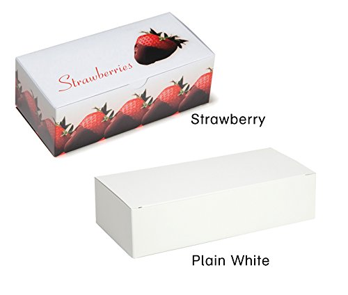 Chocolate Covered Strawberry Boxes, extra small, white, by Tap - Pack of 50 (Extra Small White Auto Bottom, plain white)