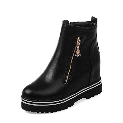 Allhqfashion Womens Hoge Hakken Stevige Ronde Gesloten Teen Zachte Materiële Rits Laarzen Zwart